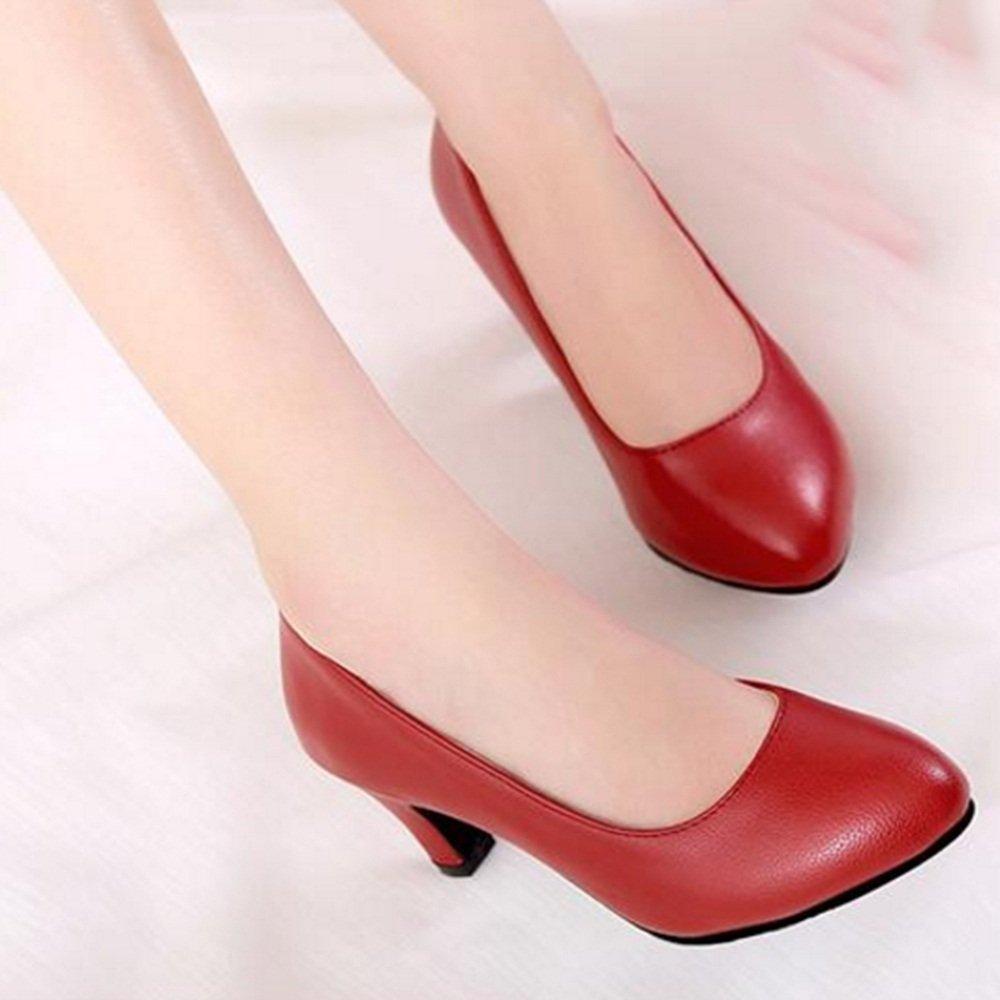 Pantoletten ZHANGRONG- ZHANGRONG- ZHANGRONG- Damen Mid Heel Slip On Court Schuhe Ballerinas Pumps (Farbe   Rot größe   EU39 UK6 CN39) 5ca0b1