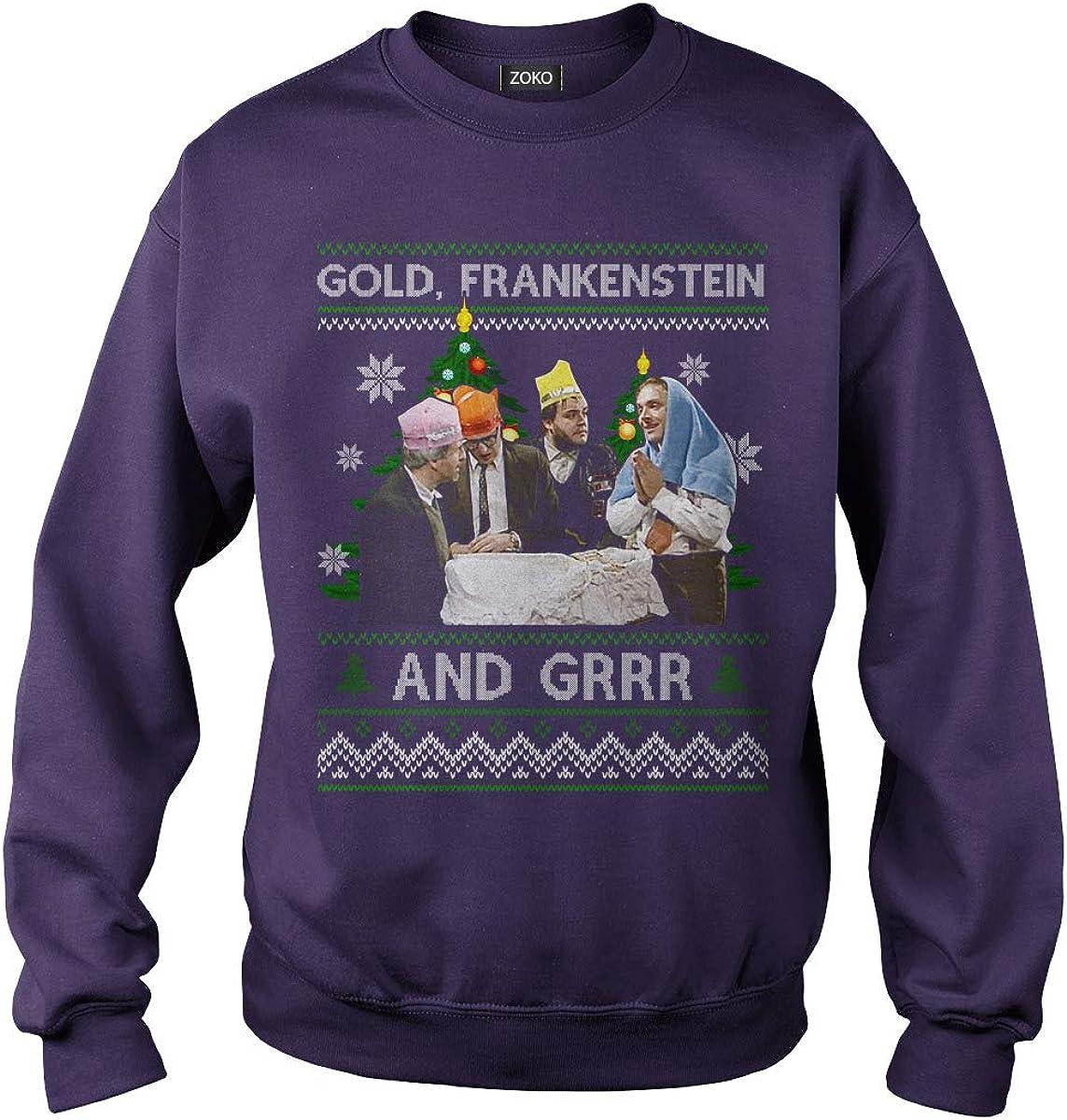 Zoko Apparel Gold Frankenstein and Grrr Ugly Christmas T-Shirt