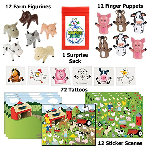 Farm Party Favor Pack - 96pc (12 Farm Sticker Scenes, 12 Farm Animal Figurines, 12 Farm Finger Puppets & 72 Barnyard Tattoos) - Barnyard Birthday Themes