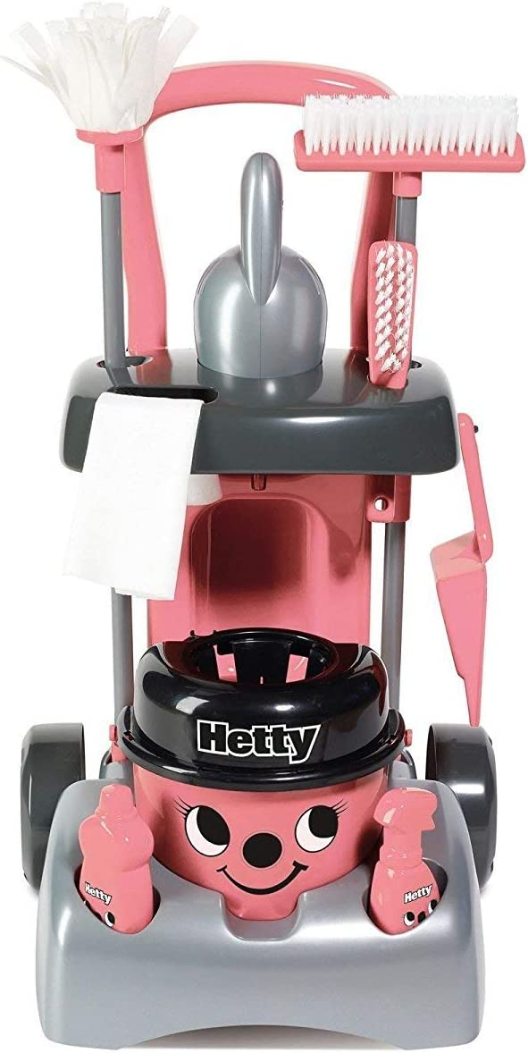 Casdon Little Cook Deluxe Hetty Cleaning Trolley, Pink/Black