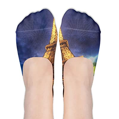 Artistic Eiffel Tower DIY Printed Pattern Comfortable Low Cut Socks No-show Liner Invisible Polyester Cotton Sock For Womens (One Pair)