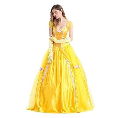 26900aaf2a Sinastar Halloween Princess Dress Yellow Vintage Court Dress Shining Evening  Gown