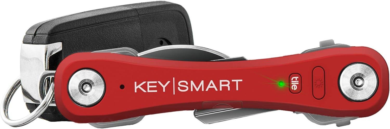 KeySmart Pro | Llavero Compacto con Linterna LED y tecnología Smart Tile. Busca Tus Llaves y móviles Perdidos con Bluetooth (2-10 Llaves, Rojo)