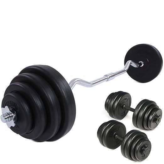 Physionics® - Juego de pesas con mancuerna (longitud 49 cm y 2,5 cm) y barra curva SZ de longitud 14,5 cm: Amazon.es: Deportes y aire libre