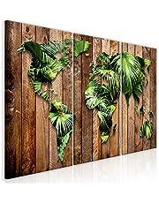murando Impression sur Toile intissee World Map 120x60 cm 3 Parties Tableau Tableaux Decoration Murale Photo Image Artistique Photographie Graphique Jungle Bois k-C-0110-b-e
