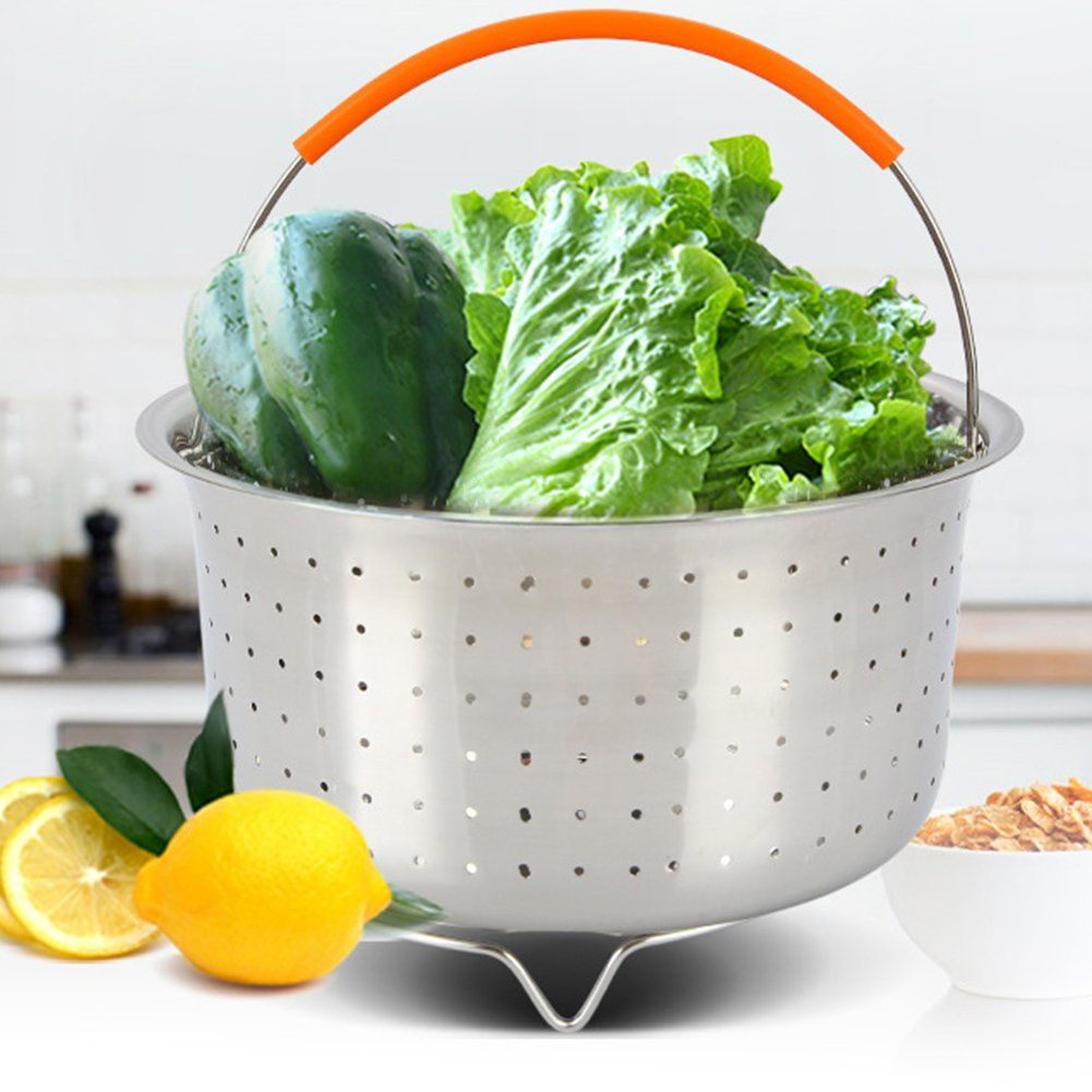 GEZICHTA Steamer Basket, Stainless Steel Vegetable Steamer Basket for 6 or 8 Quart Instant Pot Pressure Cooker, Steamer Insert with Silicone Covered Handle, for Steaming Vegetables Fruits Eggs