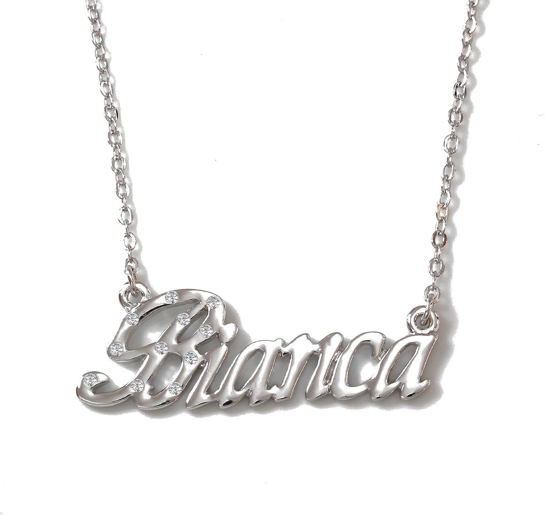 Zacria Name Necklace Sana 18K White Gold Plated