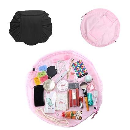 ETSAMOR 2pcs Lazy Bolsa de Maquillaje con Cordón de Viaje Gran Capacidad Neceseres para maquillaje Portátil Impermeable Bolsa de Cosméticos para ...
