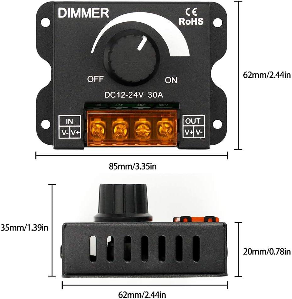 Conectores Hembra DC InduSKY Regulador de Intensidad Atenuador de interruptor LED 12V-24V 30A Dimmer Controlador 5m 2 Pin DC 12V Cable de Extensi/ón de Tira de LED 22 AWG Cable