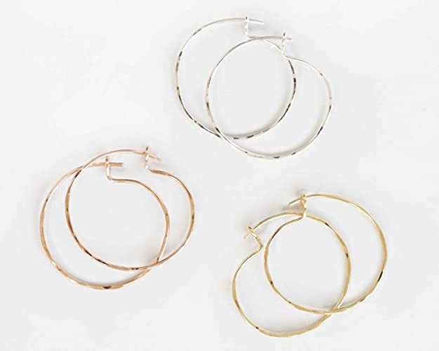 82ca916e5b97d Amazon.com: Small Hoops / Simple Earrings / Hammered Fine Metal Hoop ...