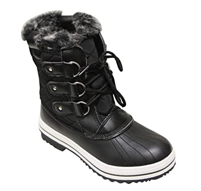 Wind-01 Women's round toe lace up quilted faux fur lining ankle snow boots
