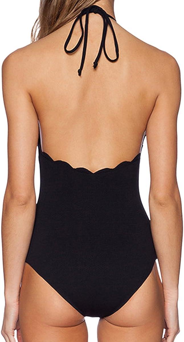 LAPAYA Womens Bathing Suit Scalloped High Neck Halter Backless 1 Piece Swimsuit