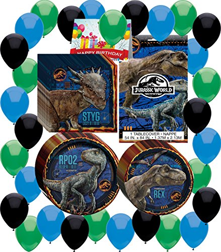 Combined Brands Jurassic World Fallen Kingdom Birthday Party Supplies Bundle of Plates, Napkins, Table Cover, Balloons and Happy Birthday -