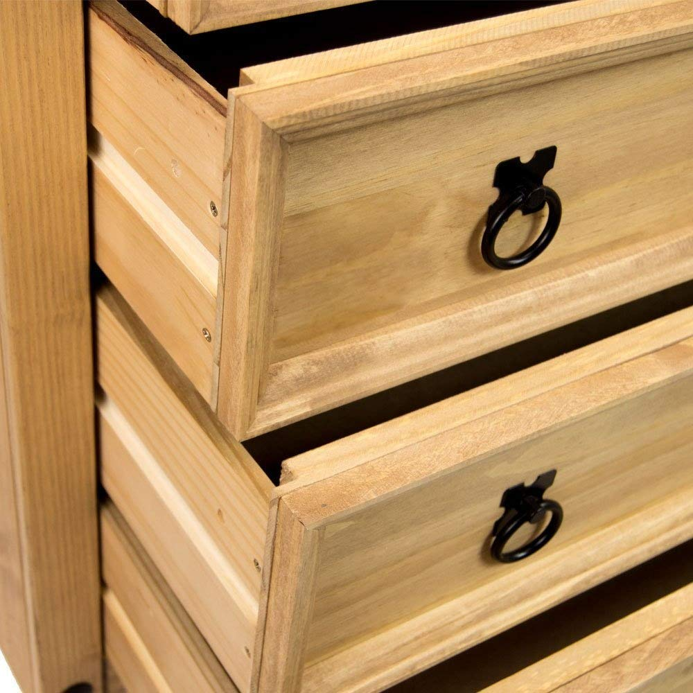 Home Discount Corona 5 Drawer Chest Mexican Solid Pine Wood Distressed Waxed Finish