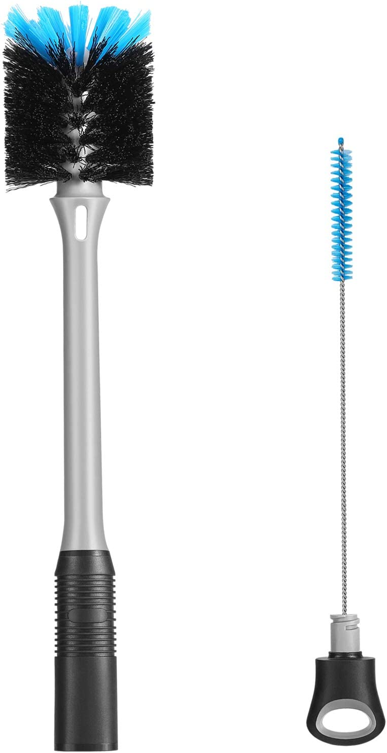 2-in-1 Bottle Brush with Straw Cleaning Brush, Long Handle Water Bottle Scrubbing Brush, Built for Cleaning Sport Bottles, Baby Bottles, Thermos, Hydro Flasks, Coffee Mugs, Tumblers