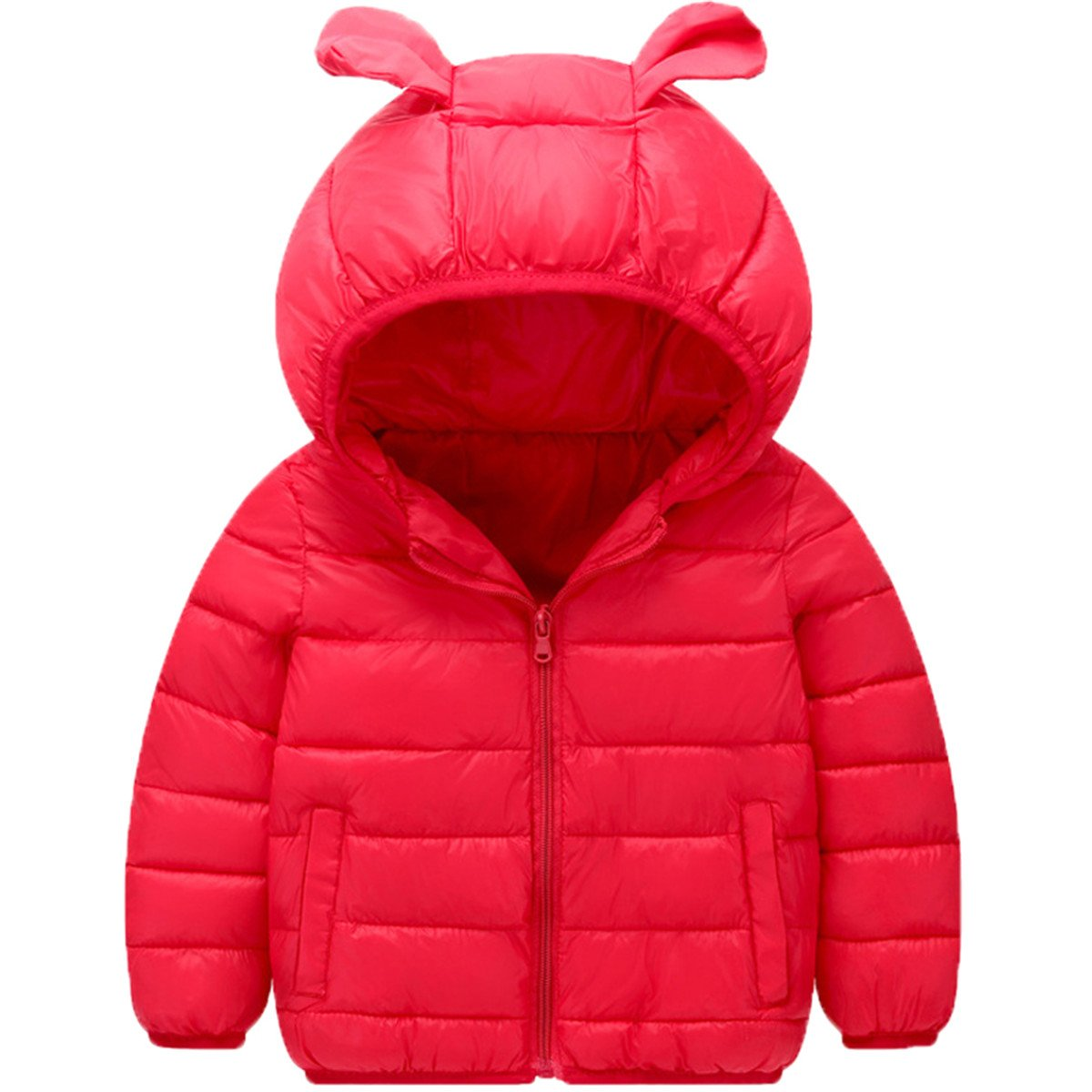 Little Boys Girls Kids Lightweight Puffer Down Bear Ears Hooded Coat Jackets YURONTJKO1791