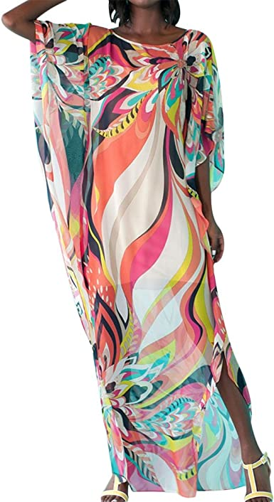 Women Beach Cover Ups Kaftan Long Floral Boho Chiffon Bikini Cover Up Beach Dress Holiday Swimsuit Bathing Suit One Size Multi Color Amazon Co Uk Clothing