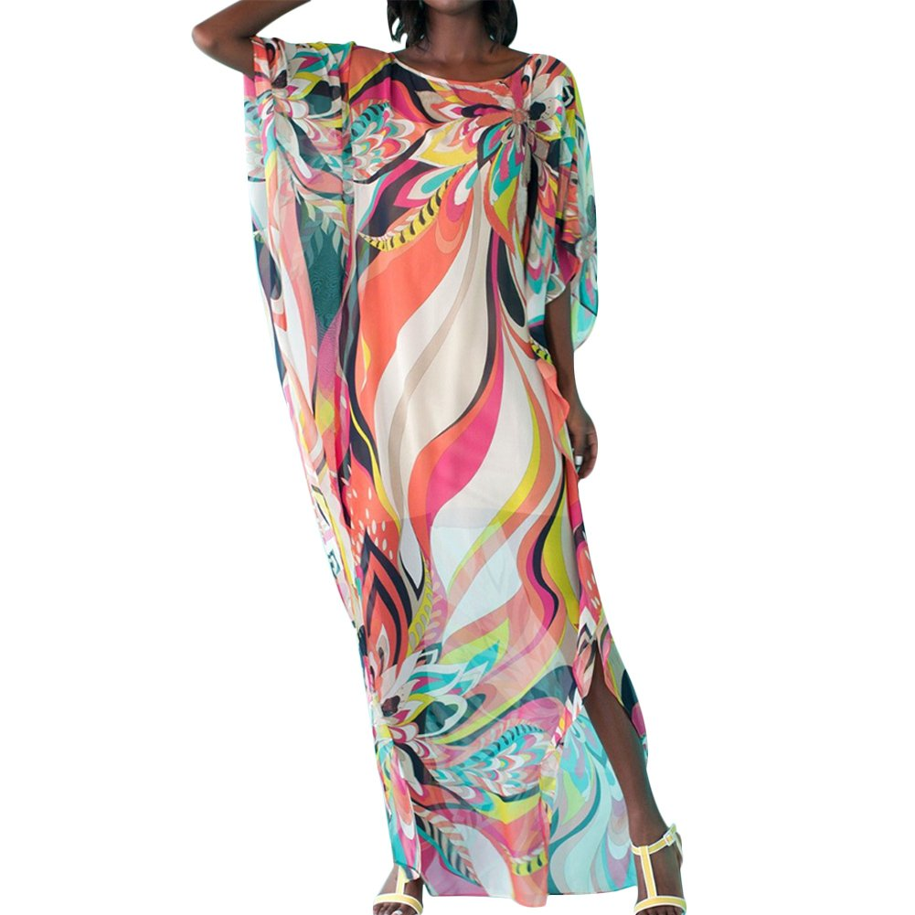 Uminilife Beach Cover up Tunic Dress Women's Summer Short Sleeve V Neck Beach Kaftan Maxi Cover up Long Dress Beachwear Bikini Bathing Suit One Size)