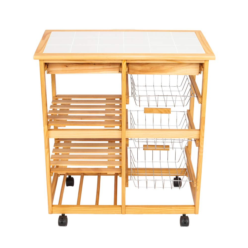 HOBBYN Kitchen Trolley, Multi-Purpose Wood Rolling Kitchen Island Trolley w/Drawer Shelves Basket (C Style)