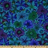 Kaffe Fassett Collective 2012 Petunias Blue Fabric By The Yard