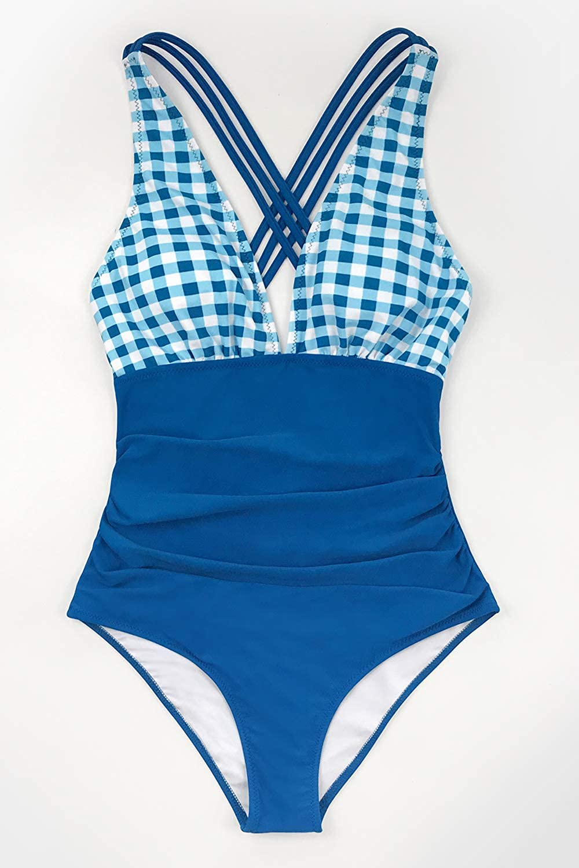 CUPSHE Damen Badeanzug V Neck Bauchweg Karomuster Vintage Einteilige Bademode Swimsuit
