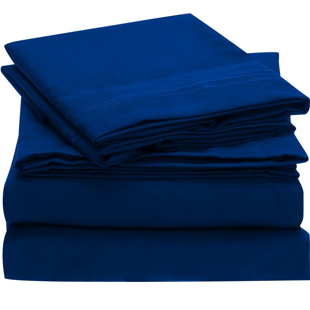 Brushed Microfiber Bedding - 4 Piece Queen, Imperial Blue