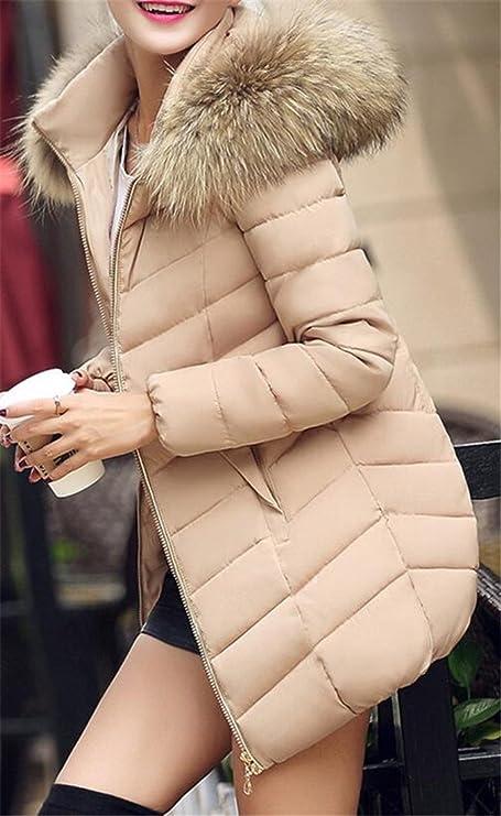 Pivaconis Chamarra para Mujer con Capucha de Piel sintética de Invierno   Amazon.com.mx  Ropa cb87b27eedc1