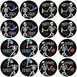 Set of 16-8'' Diameter Halloween Dessert Plates with Dancing Skeletons! - Perfect for Halloween Or Spooky Secret Social Gatherings Such as Tabletop Gaming - Bone-Appetit!