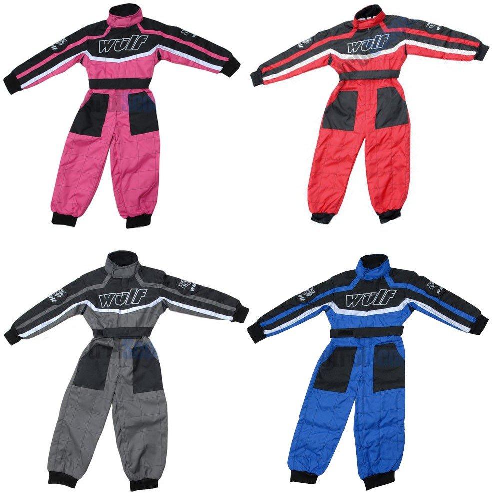 WULFSPORT Junior 1 pezzo Suit Bambino Quad Corsa Suit MX ATV Jersey + Pantaloni Bambini Tuta, Blu (L (9-10 Anni) WULFSPORT ONE PIECE