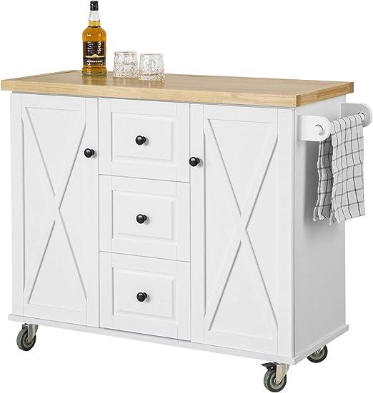 SoBuy FKW10-WN Kücheninsel mit Arbeitsplatte Küchenwagen mit 10 Türen  Küchenschrank mit 10 Schubladen Sideboard weiß BHT ca.: 10x910x10cm