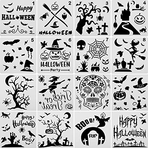 Halloween Font Stencils (16 Pieces Halloween Stencils Plastic Drawing Templates Theme Painting Template with Pumpkin, Bat, Skeleton, Owl, Hat,)