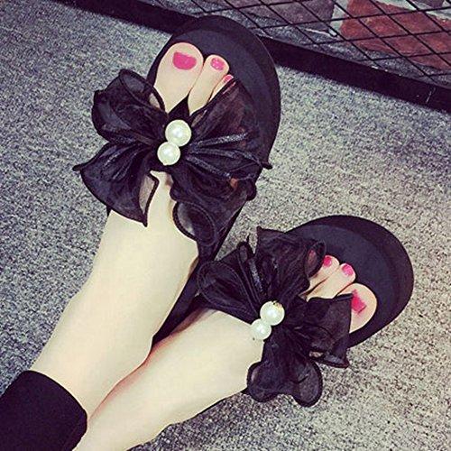 Wedges Flops Flip Slip Women Bottom High JULY Sandals No Thick Slippers T Butterfly Heels Black IqXnZ