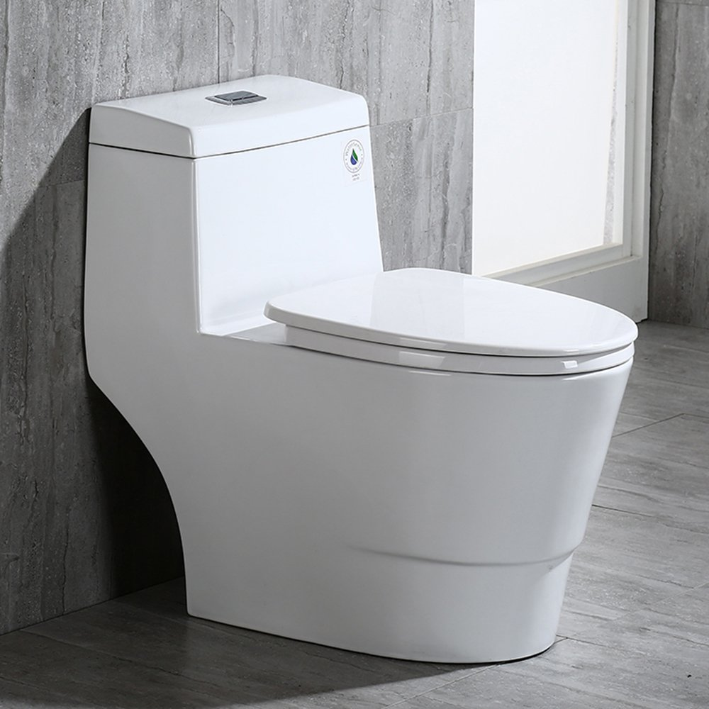 WOODBRIDGE T-0019, Dual Flush Elongated One Piece Toilet with Soft ...