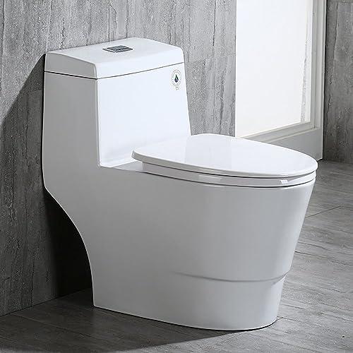 WoodBridge T-0001 Dual Flush Elongated One Piece Toilet