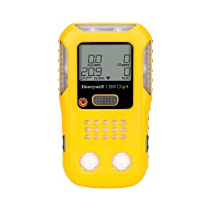 "BW Technologies BWC4-Y-N Clip4, 4-gas (Combustible, O2, LEL, H2S, CO) - 2-Year Detector, Mixture of Lexan, TPE and Plastic, Yellow, 4.7"" X 2.7"" X 1.3"""
