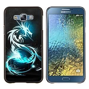 TECHCASE---Cubierta de la caja de protección para la piel dura ** Samsung Galaxy E7 E700 ** --BLUE GLOW DRAGÓN TRIBAL