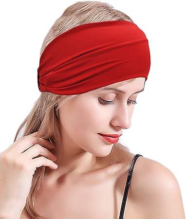 Red con estampado elegante turbante el/ástico para el pelo para mujeres para yoga correr Zoestar Pa/ñuelos anchos boho para la cabeza paquete de 3