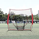 Pagacat 7 x 7ft Dismountable Baseball Net for Hitting Pitching and Batting Training with Carry Bag (US Stock)