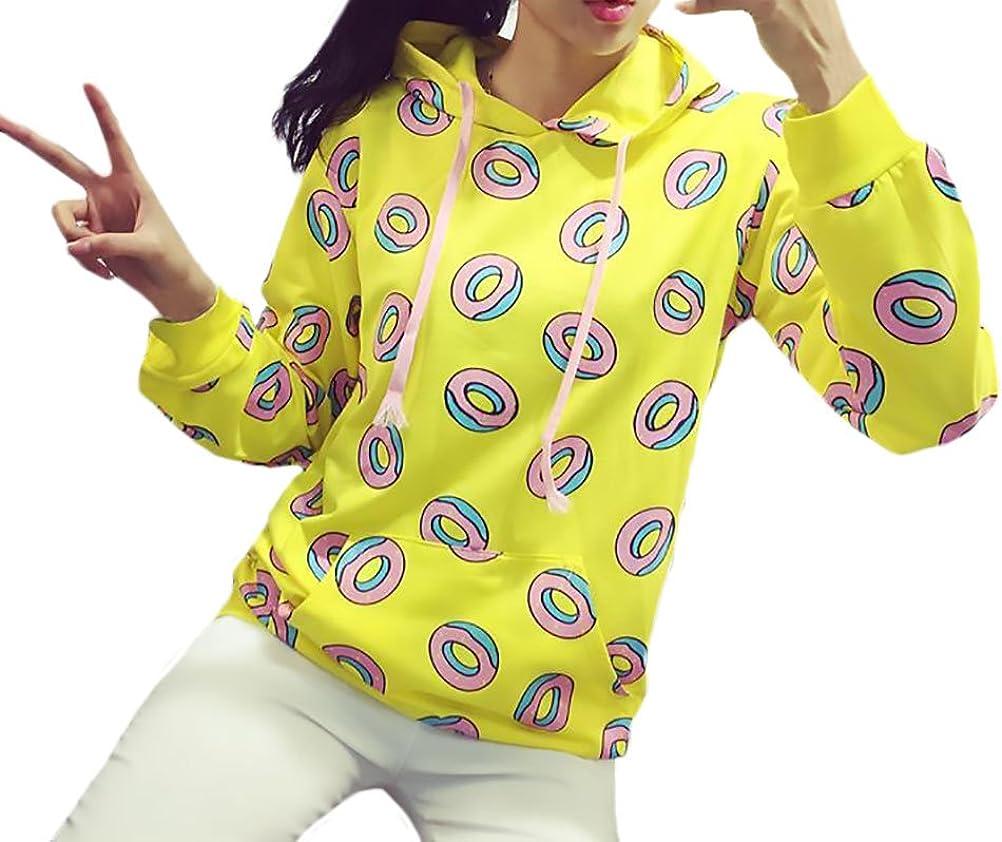 Sudaderas Mujer con Capucha Donuts Impresi/ón Amarillo Sweatshirt Encapuchado Parejas Elegante Bolsillos Manga Larga Pullover Hoody Oto/ño Invierno Casual Sudadera Ropa Deportiva Moda Hombre