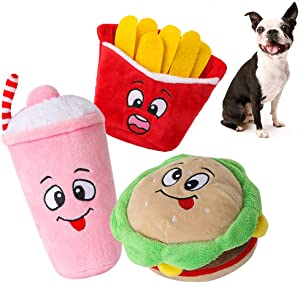 Dog Squeaky Toys 3pcs - Stuffed Puppy Chew Toys with Squeakers, Soft Food Shape Pet Toy for Small Medium Dogs, Plush French Fries Hamburger Milkshake Toys