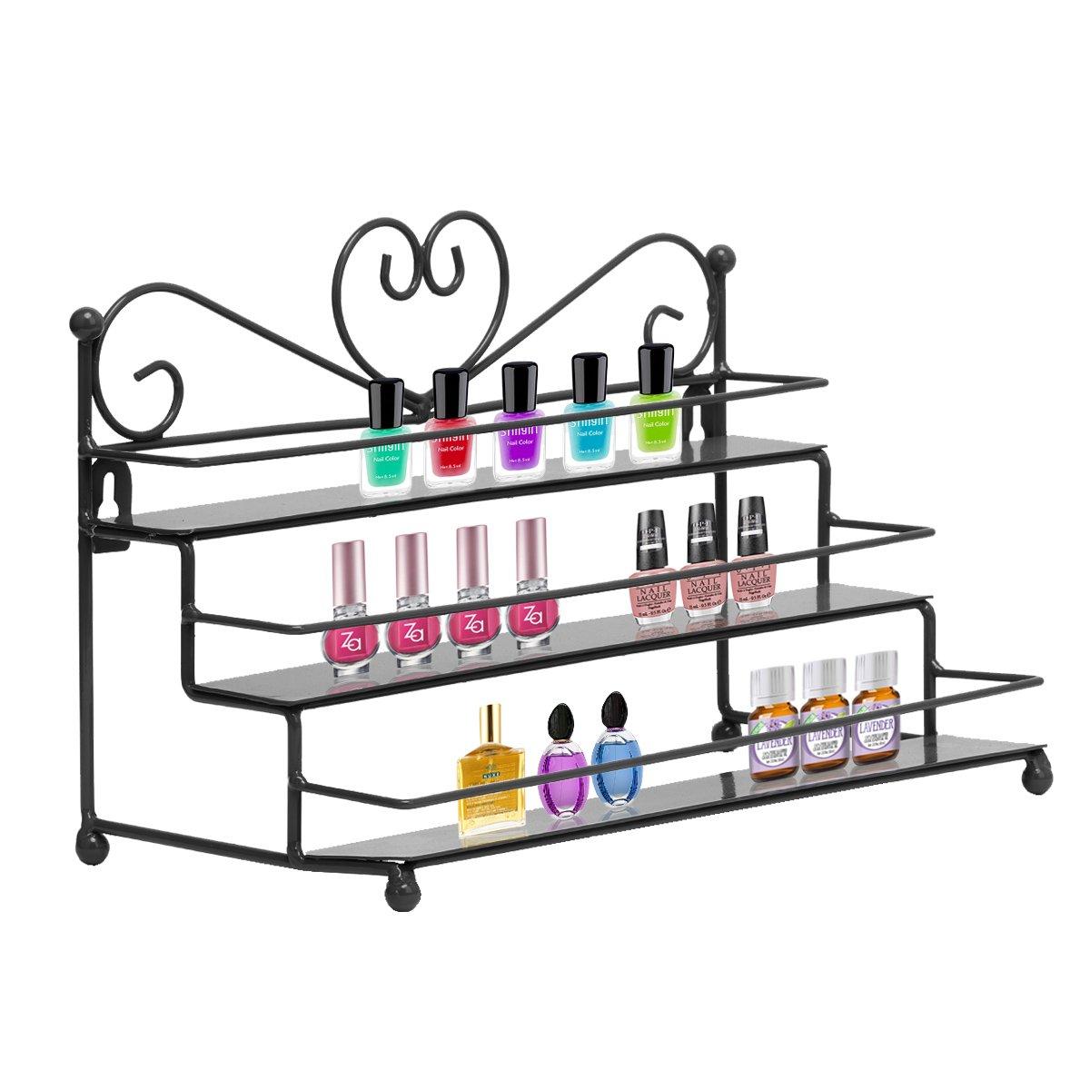 Dazone Mounted 3 Tier Metal Shelf Nail Polish Wall Rack Essential Oils Perfume Organizer by DAZONE