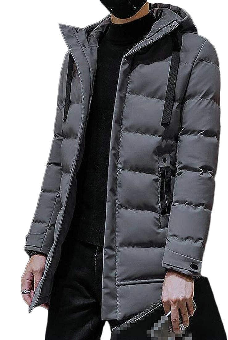 Cromoncent Mens Slim Fit Padded Puffer Warm Hooded Mid-Length Parka Jacket Coat