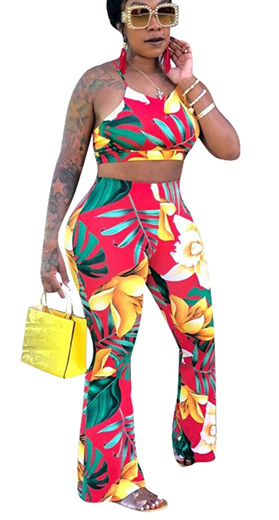 96997de48b8d Style 2  Womens Elegant 2 Piece Outfit Spaghetti Strap Backless Wide Leg  Long Jumpsuit Style 3  Womens Sexy Off the Shoulder African Print ...