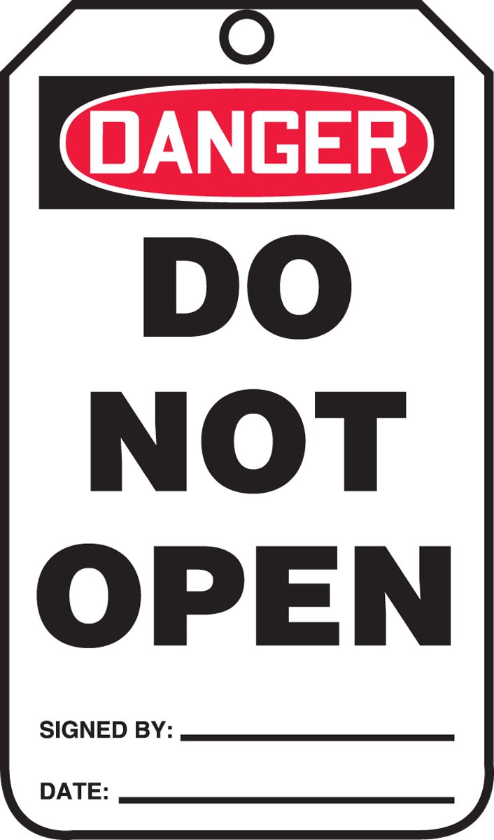 Accuform MDT200CTP PF-Cardstock SAFETY Tag, Legend''DANGER Do Not Open'', 5.75'' Length x 3.25'' Width x 0.010'' Thickness, Red/Black on White (Pack of 25)
