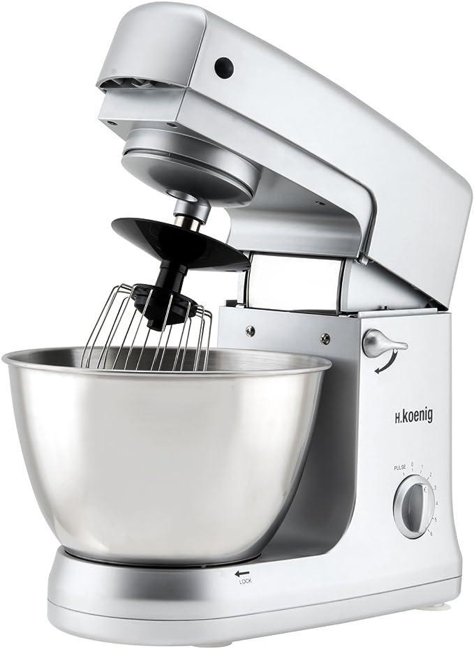 H.Koenig KM60s Robot de Cocina multifunción, batidora amasadora, 1000W, 1000 W, Acero Inoxidable, Oxidado: Amazon.es: Hogar