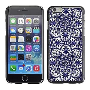 TopCaseStore / la caja del caucho duro de la cubierta de protección de la piel - Cards Flower Blue White - Apple iPhone 6