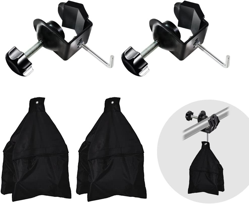 Boom Arm Stand Support Kit Julius Studio 2 Packs of Metal U Clamp Clip with Hook for Weight Sand Bag Photo Video Studio JSAG257