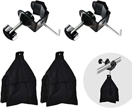 JSAG257 Photo Video Studio Boom Arm Stand Support Kit Julius Studio 2 Packs of Metal U Clamp Clip with Hook for Weight Sand Bag