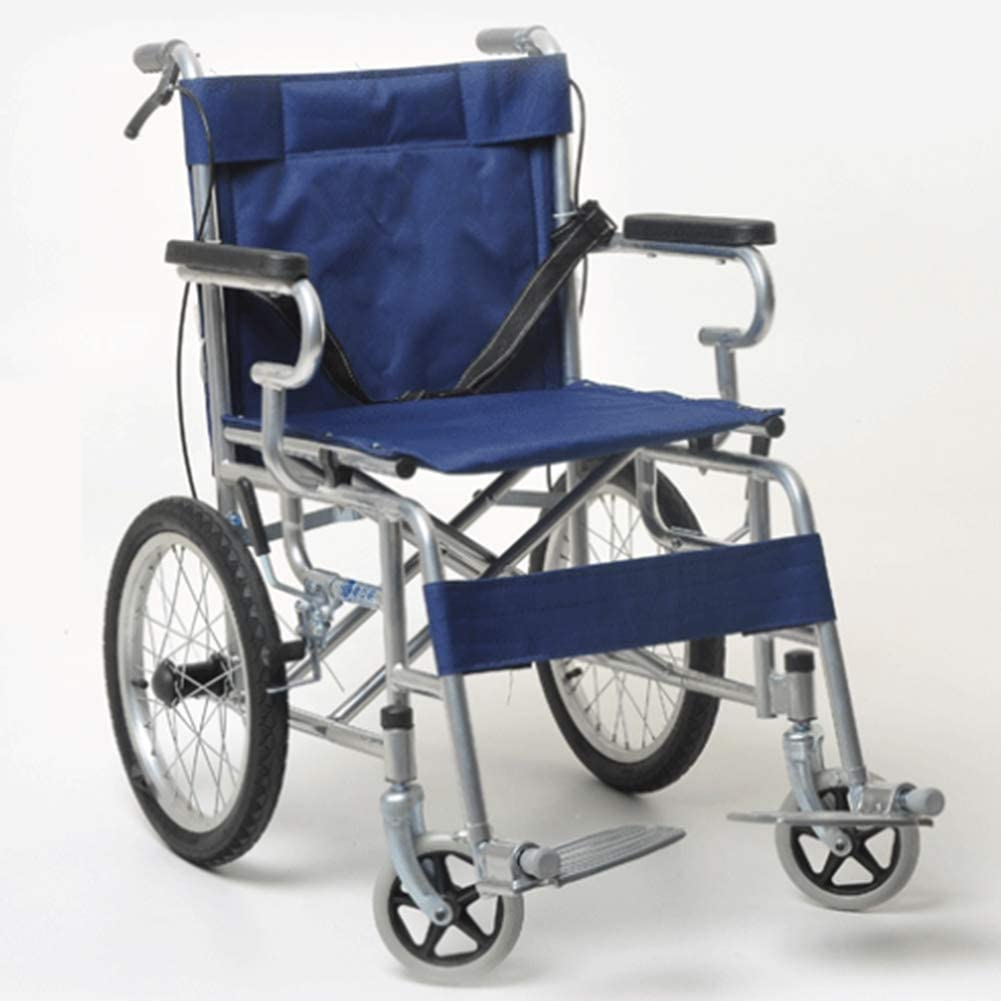 GBX@I Sillas de ruedas plegables livianas que conducen suministros médicos médicos para adultos, 16 pulgadas Aleación de aluminio Silla de ruedas para ancianos Scooter discapacitado