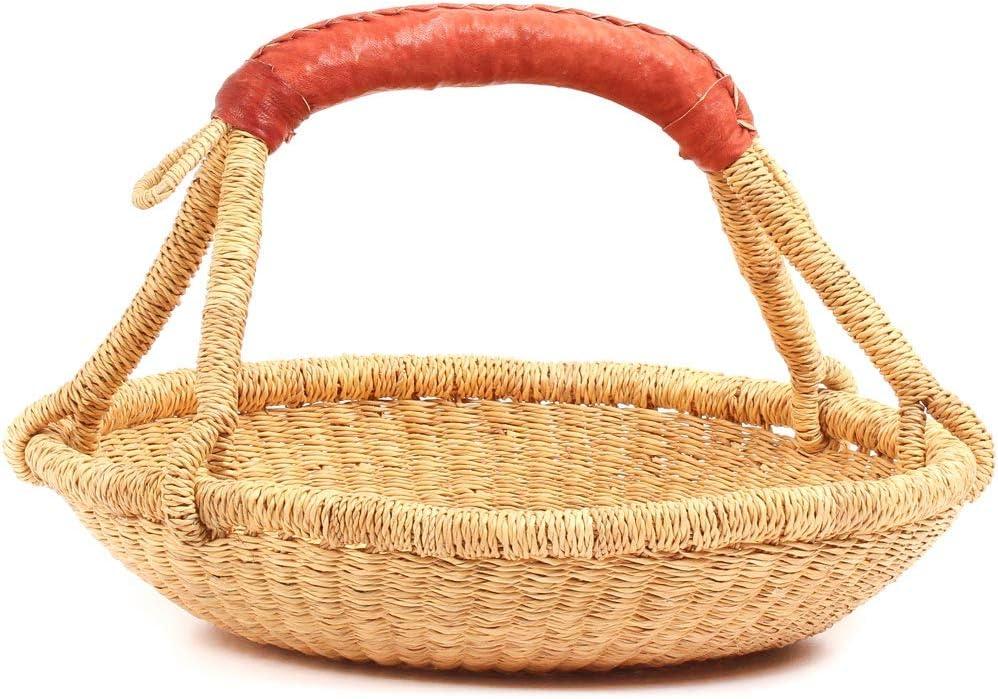71501 Fair Trade Ghana Bolga African Dye-Free Short Round Basket 13-15 Across